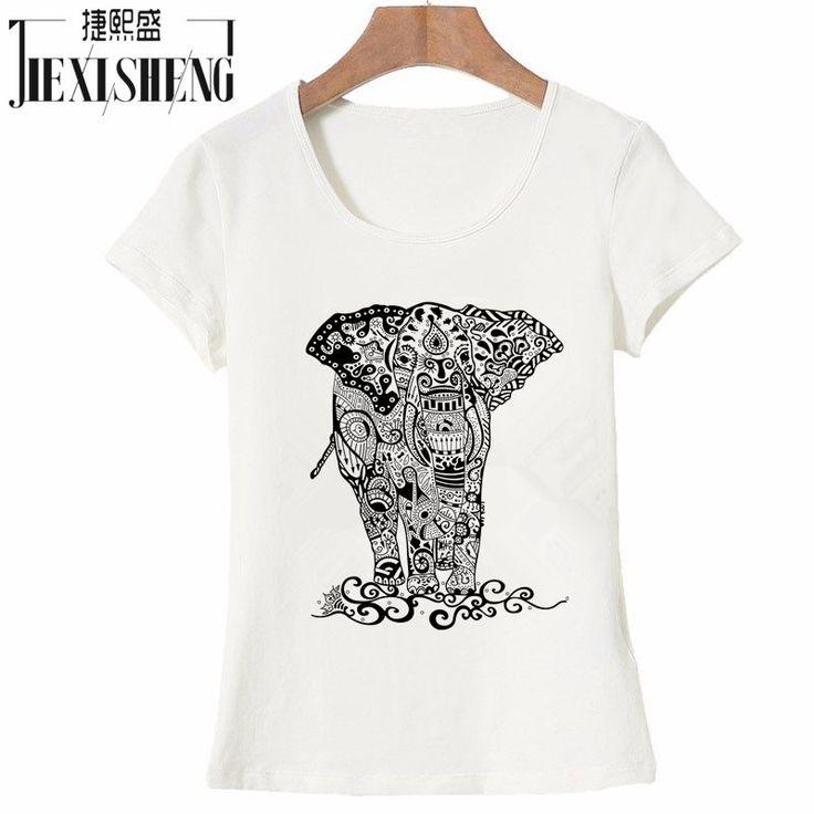 Acheter Été Coton T chemises Femmes Mode À Manches Courtes O cou T shirt Éléphant imprimé Plus size Top Cultures de impression d'éléphant