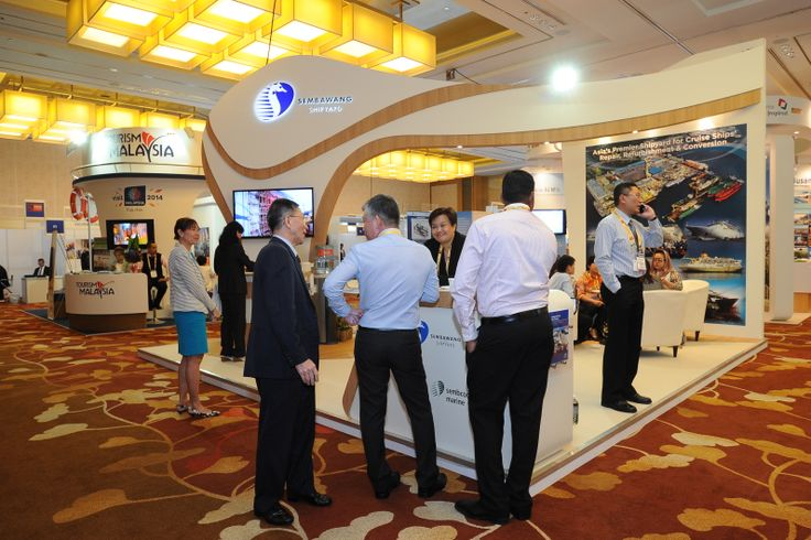 Trade show floor at Cruise Shipping Asia-Pacific.  Booth shown: Sembawang Shipyard Pte Ltd