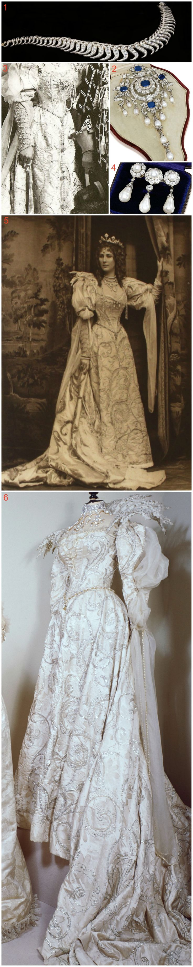 """Winifred, Duchess of Portland, went to the 1897 Devonshire House Ball as the """"Duchess of Savoia."""" Her outfit consisted of an embroidered silver satin dress and lace ruff (6). A portrait (5) shows her wearing a diamond and pearl brooch (4) as part of her costume. She wore slightly different jewellery for the event itself—a close-up from her photo with her husband, the 6th Duke of Portland (3), shows the Portland stomacher (2) and a scroll necklace (1) pinned on her bodice as corsage…"""
