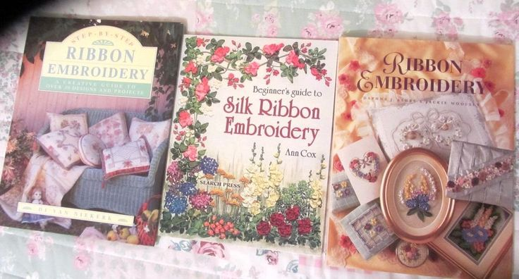 JOB LOT OF 3 RIBBON EMBROIDERY/SILK RIBBON EMBROIDERY  STEP BY STEP BOOKS SEWING