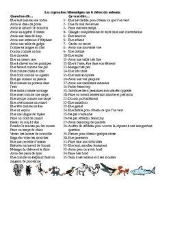 Voici la liste de 35 expressions faisant reference a differents animaux. Les eleves doivent les relier a la bonne definition. C'est une bonne manie...