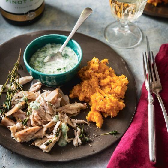 Konijn met zoete-aardappelpuree en frisse kruidenmayo