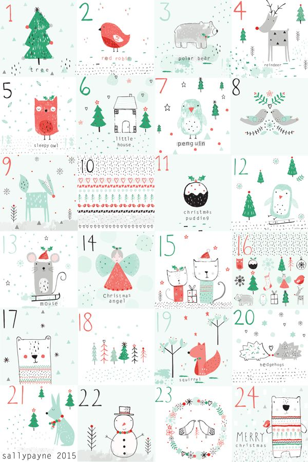 The last day of my advent, nice to see all the illustrations together and a christmas pattern to finish it all off! Have a great Christmas!!