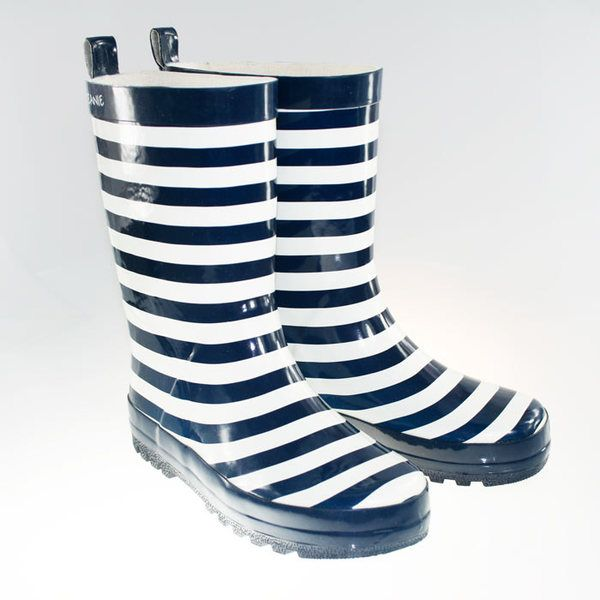 Skeanie Navy Stripe gumboots. Perfect for little feet that love to jump in puddles! $29.95.