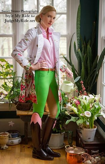 Style My Ride VP Courtney Westmoreland Rider is stepping out in a refreshingly floral spring time ensemble. Built around a pair of full seat Pomme Verte breeches from Annie's Equestrienne USA, the perfect Primavera compliment is a trench coat so beautiful, we were overcome by the perfection of the delicate water colors with these apple green breeches; a RED Valentino floral trench from Saks 5th Avenue. Want to see more photos? Visit our site www.stylemyride.net. #stylemyride #fashion