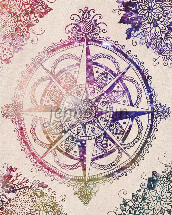 Voyager II - compass rose print travel poster wanderlust gypsy hippie 8 x 10 PRINT celestial colorful wall art on Etsy, $18.00