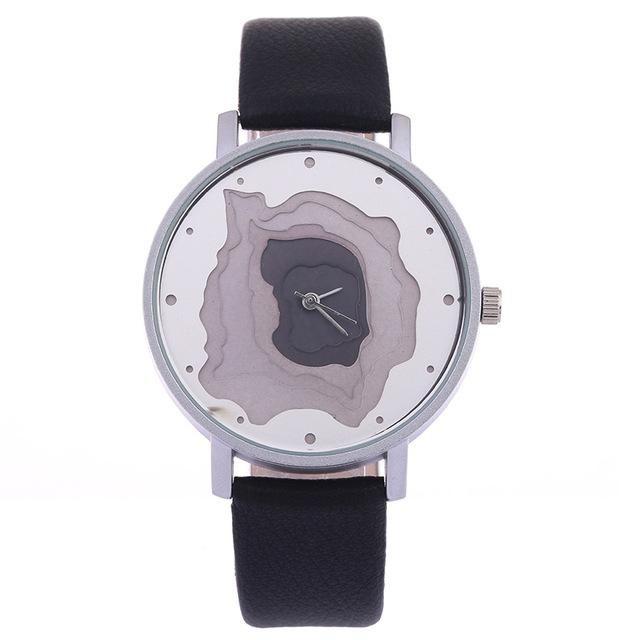 3D Face wood grain Dial unisex watch Ladies Casual wristwatch men Vintage Leather Band watch Women Quartz-watch BGG Famale Clock