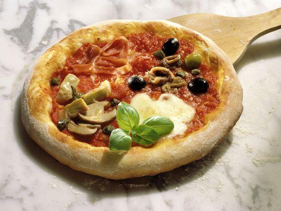 Pizza Quattro Stagioni ist ein Rezept mit frischen Zutaten aus der Kategorie Schwein. Probieren Sie dieses und weitere Rezepte von EAT SMARTER!