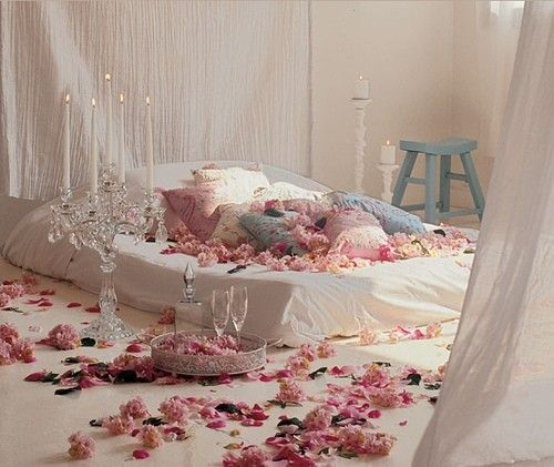 Romantic Bedrooms With Candles And Flowers
