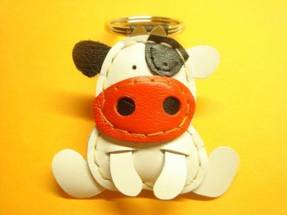 @JanetLynn Morton Leather Keychain Rong the Cow leather charm  by leatherprince, $19.90