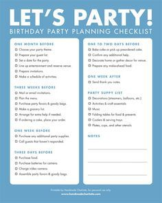 Free Printable Birthday Party Checklist is an easy way to get organized and make sure you don't forget any supplies for the next party you are throwing. #BirthdayPartyPlanner