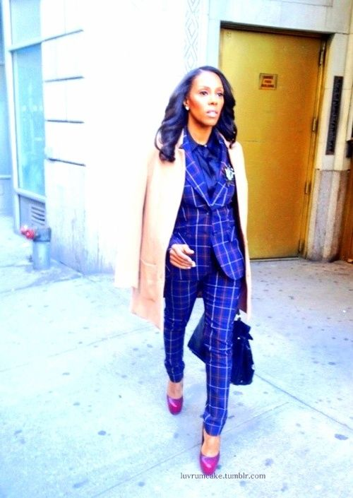 June Ambrose in a Dolce & Gabbana suit.