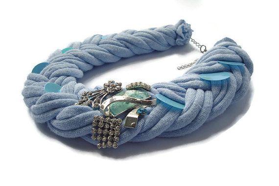 Baby blue fabric necklace Braided Necklace por DesignHappyDay
