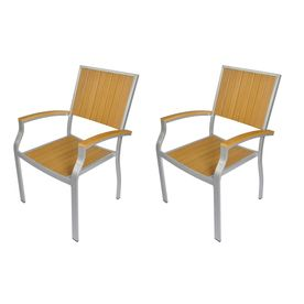 Allen Roth Set Of 2 Chilham Silver Powder Coated Slat Seat Aluminum Stackable  Patio Dining Chairs