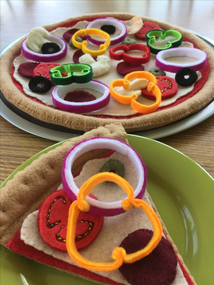 Dramatic play...order by email to FeltSewReal@aol.com Whether you'd like a whole felt pizza or just one slice...I've got you covered!  Dough, sauce, cheese and all the toppings are not attached so your lil chef will have many hours of entertainment mixing and matching !