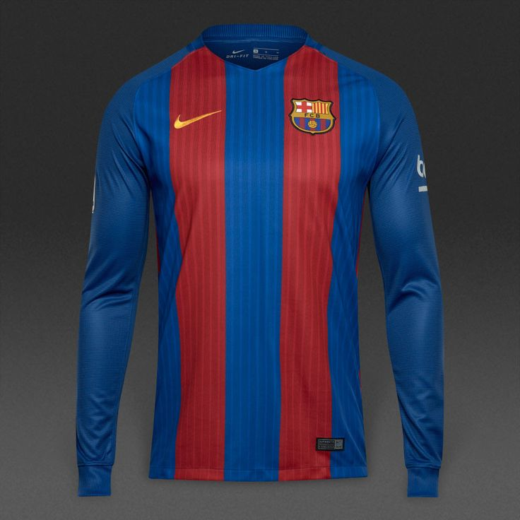 Barcelona 2016/17 Home Men Long Sleeve Soccer Jersey Personalized Name and Number