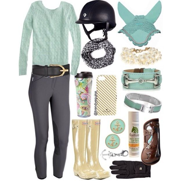 Mint green riding outfit