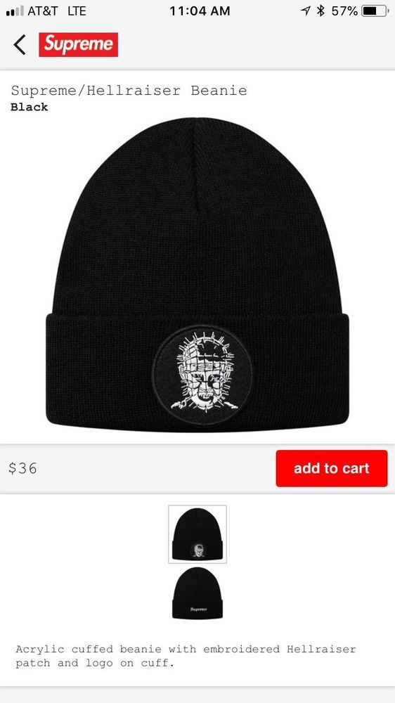 56638fff9b26e Supreme Hellraiser Beanie Hat Brand New 100% Authentic Box Logo SS18   fashion  clothing  shoes  accessories  mensaccessories  hats  ad (ebay  link)