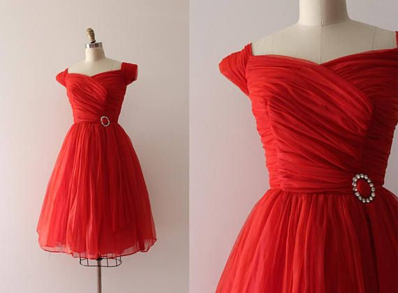 vintage+1950s+dress+//+50s+red+party+dress
