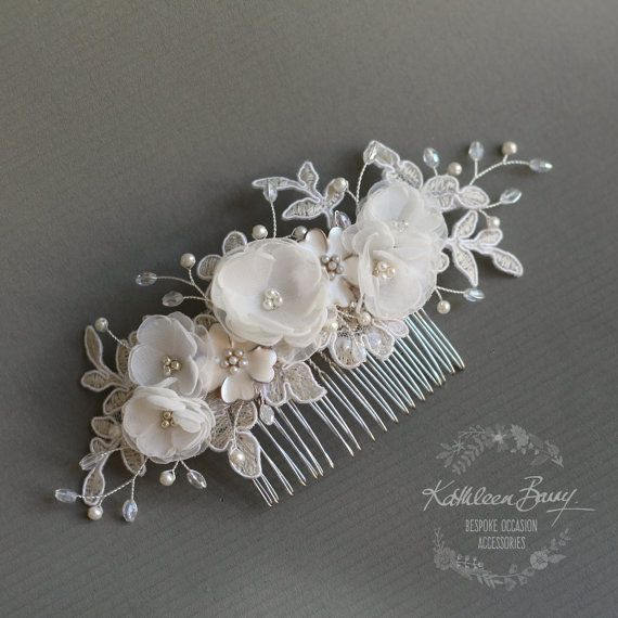 Floral lace Bridal hair comb - veil comb - handmade flowers Chantilly lace - crystal and pearl - wedding hairpiece - decorative hair comb.  A collection of handmade fabric flowers, enamel flowers, crystals and seed pearls with galvanized Japanese seed bead detailing on sterling silver plated wirework. On a sturdy stainless steel comb, perfect for a veil accessory and thereafter as a decorative detail for the reception.  The Chantilly bridal lace is just ivory with off white cording, with…