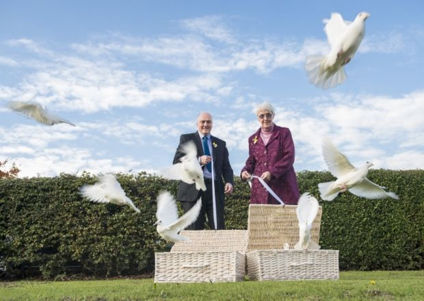 Picture by Allan McKenzie/YWNG - 09/10/2015 - Press - Elsie Frost Memorial Tribute - St George's Church, Lupset, Wakefield, England - Elsie Frost's brother & sister, Colin Frost & Anne Cleave, release the doves in memory of Elsie.