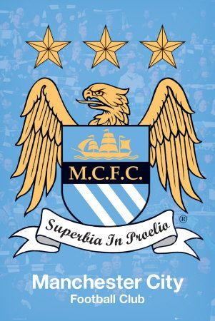 Manchester City. The brilliantly designed crest with the eagle and the motto 'Pride in Battle'