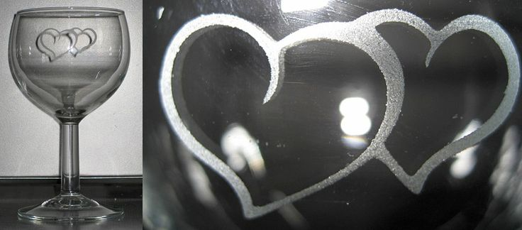 Wine glass with hearts.