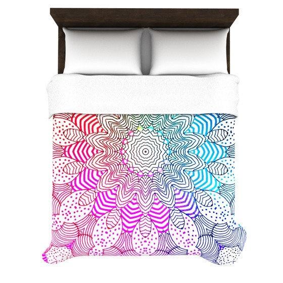 mandala, colourful, bedding, blankie, bedcover, covers, blanket, comforter, duvet, bedspread, bedroom, apartment, dorm, rainbow, teal, mint, pink