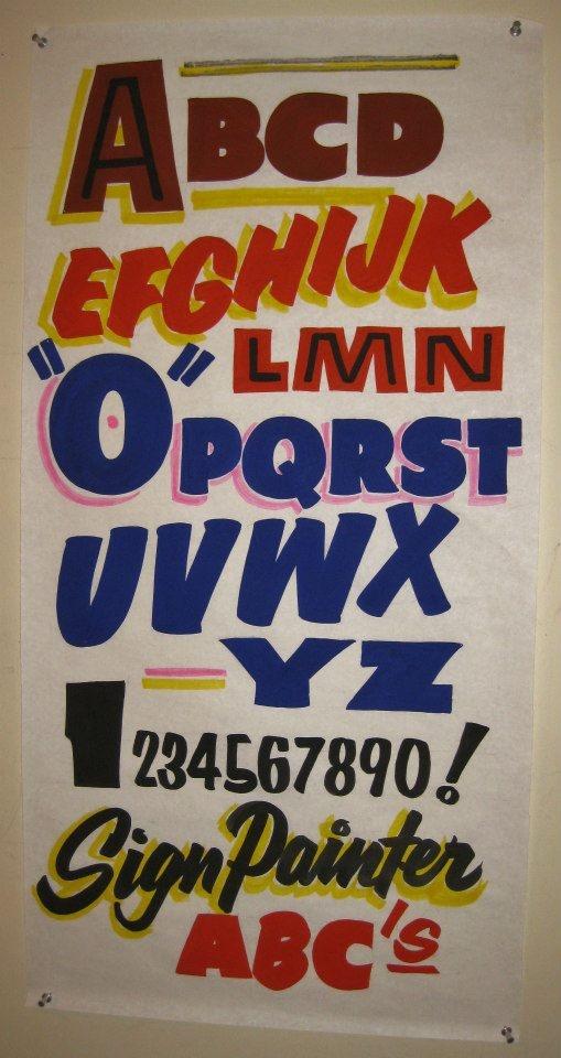 Handwritten lettering styles of vintage posters