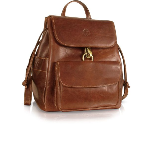 Chiarugi Designer Handbags Handmade Brown Genuine Leather Backpack found on Polyvore featuring polyvore, women's fashion, bags, backpacks, leather knapsack, draw string backpack, brown backpack, drawstring bag and day pack backpack