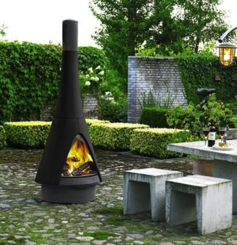 Possibly the most stylish version of a chiminea (outdoor fireplace) we've seen: the Pharos Exterior Outdoor Stove, by Dutch designer Jos Muller for Harrie Leenders; available through Robeys in the UK.