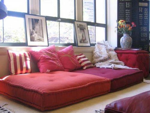 Orientalische Wohnideen-verschönern Sie Ihr Wohnzimmer mit Bodenkissen