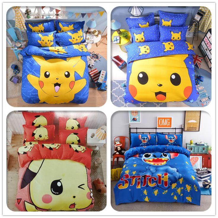 compare prices cute pikachu bedding set cartoon pokemon hello kitty doraemon stitch duvet cover bed sheet #kid #house