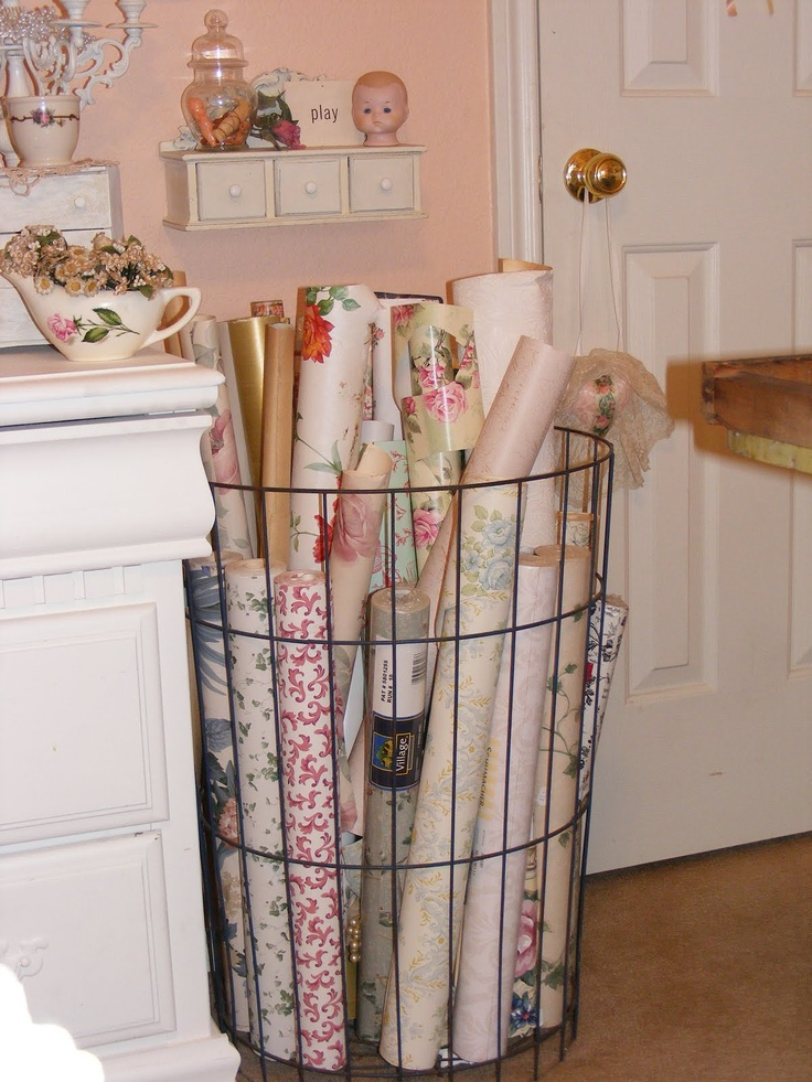 clever and smart storage for the 101 rolls of christmas wrap I have