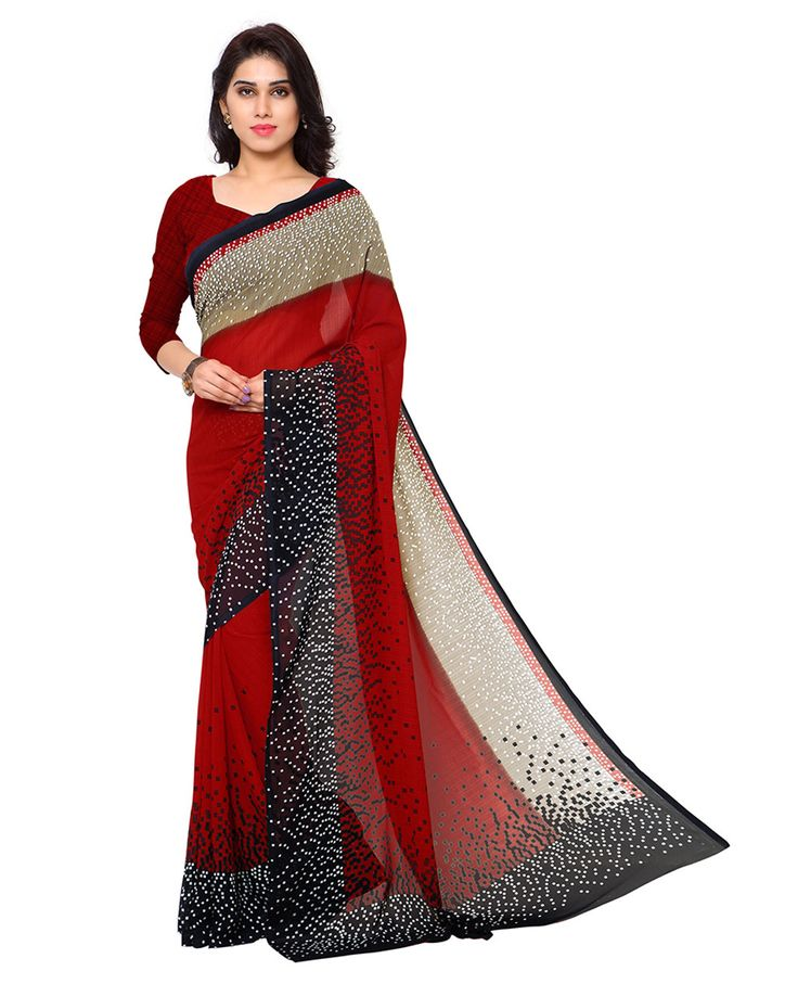 Red Georgette Printed Saree With Blouse 78607