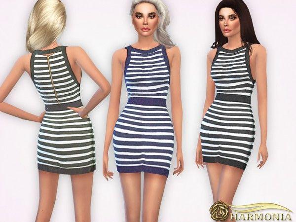 The Sims Resource: High Hemline Striped Mini Dress by Harmonia