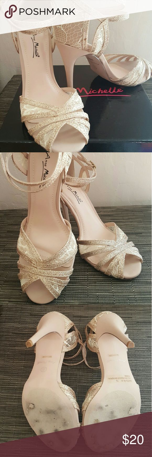 Anne Michelle Gold Sandals Heels Beautiful lace applicate, strap heels. Gold tone easy to match any outfit. Anne Michelle Shoes Sandals
