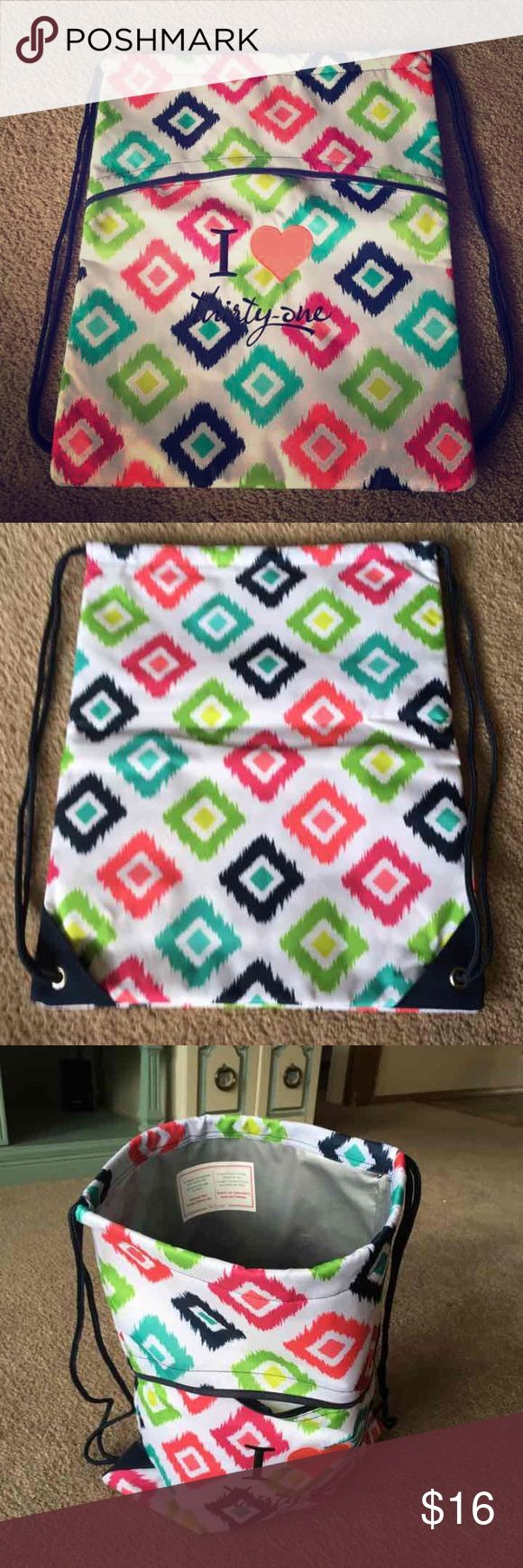 "Cinch Sac •drawstring closure •exterior zipper pocket •approx 18.5""H x 14.5""L Thirty One Bags Backpacks"