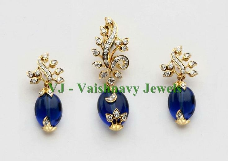 Gold sapphire diamond set earrings pendant