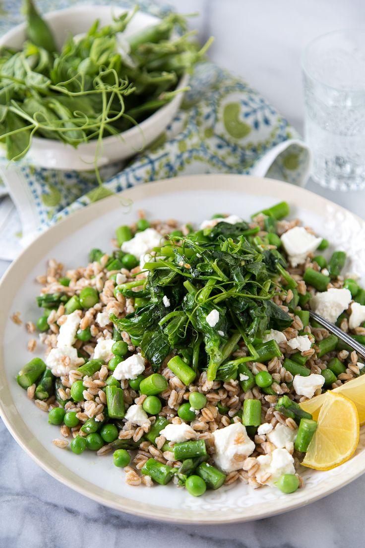 Spring Pea Farro Salad with English peas, pea tendrils, asparagus, feta and a lemon champagne vinaigrette
