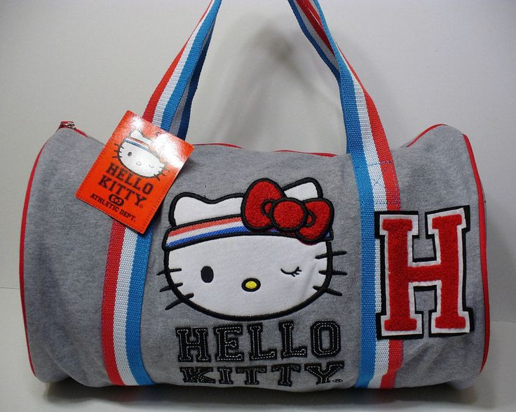 Loungefly Hello Kitty Gym Fleece Duffle Tote Bag Licensed Sanrio Grey Brand New  #Loungefly