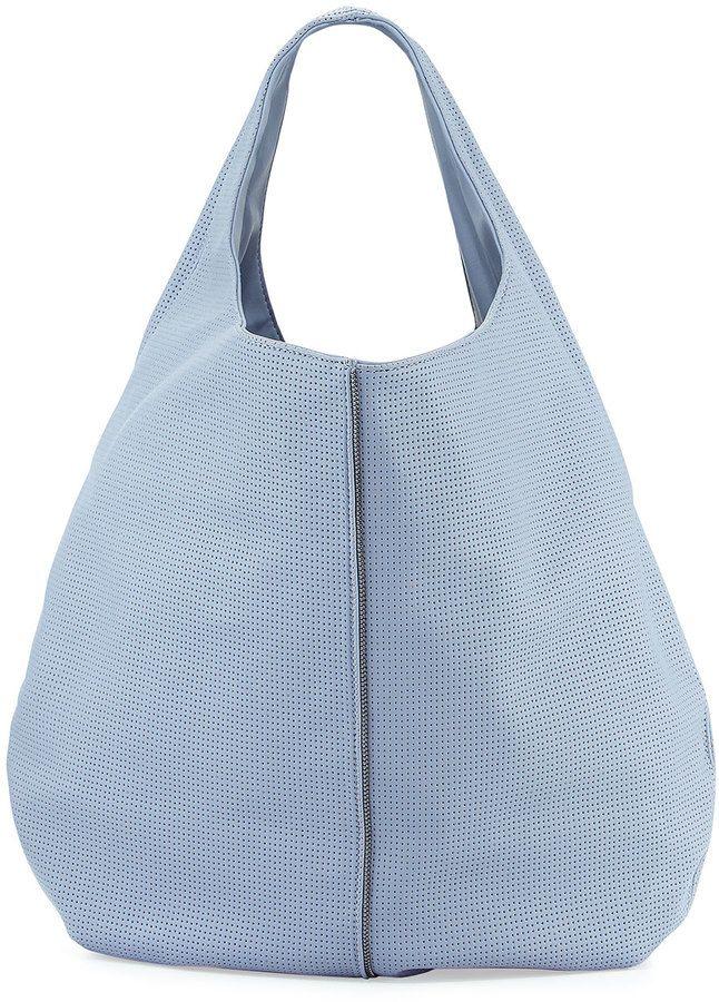 Neiman Marcus Perforated Zip-Trim Hobo Bag, Cornflower