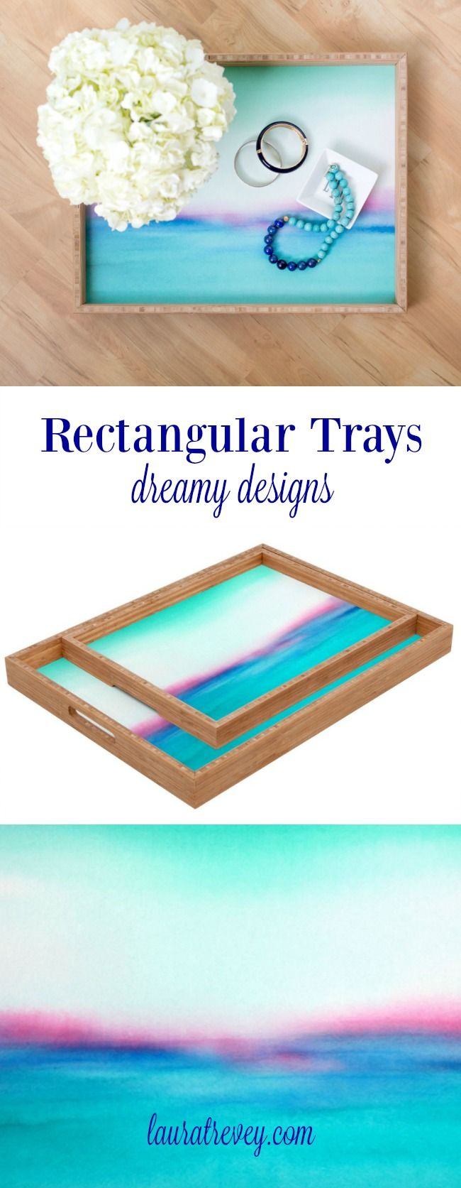 Stylish rectangular trays in dreamy designs for decoration or for serving