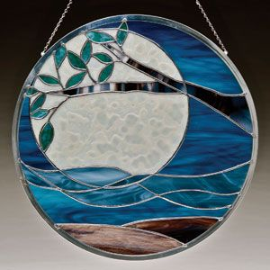 Moon tree ocean stained glass sun catcher round panel