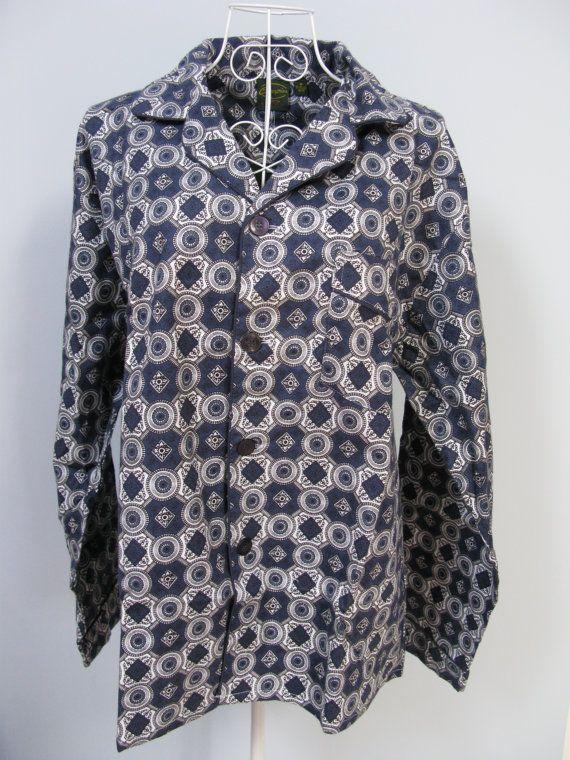 Mens Pyjama Set  Geometric Pyjamas  by MissieMooVintageRoom