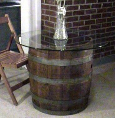 Glas Top Cut Barrel Table