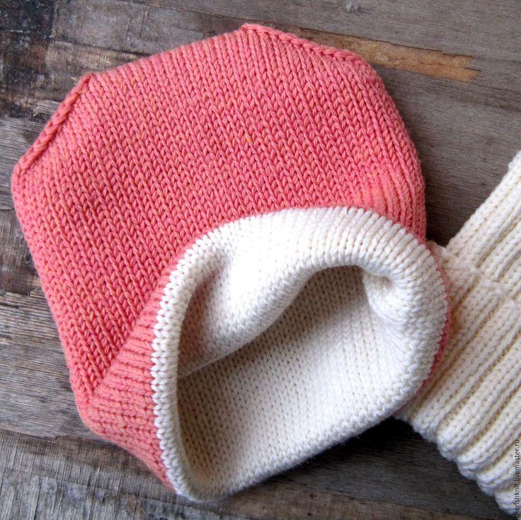 Купить Шапка вязаная двойная двусторонняя шерсть меринос - комбинированный, однотонный, двойная шапка