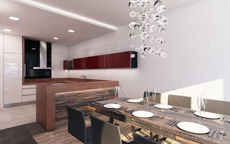 Na jídelnu navazuje luxusní netradičně pojatá kuchyně. Prostor kuchyně je vymezen sádrokartonovým podhledem ukončeným světelnou LED rampou. Pro snadnou obsluhu jídelny je kuchyňská linka zakončena barem.
