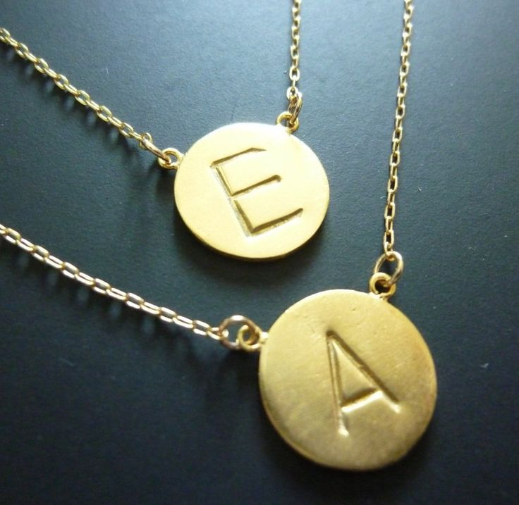 gold initial necklace initial disc necklace personalized. Black Bedroom Furniture Sets. Home Design Ideas