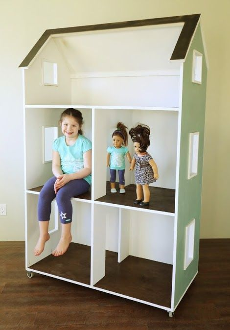 "Plans for this fantastic Doll House for 18"" dolls was just posted yesterday (March 31, 2014).  Complete plans and tons of pics in true Ana White style.  We here at Maiden Flight Clothing are seriously in love with it. Lot's a time before Christmas to build this for a Christmas gift she will loonnnnng remember."